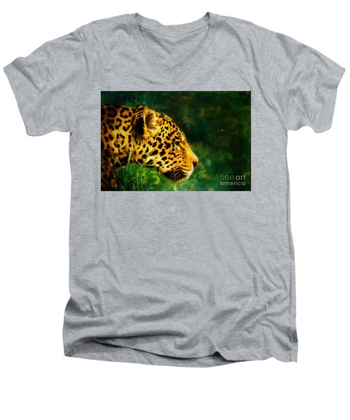 Jaguar In The Grass Men's V-Neck T-Shirt