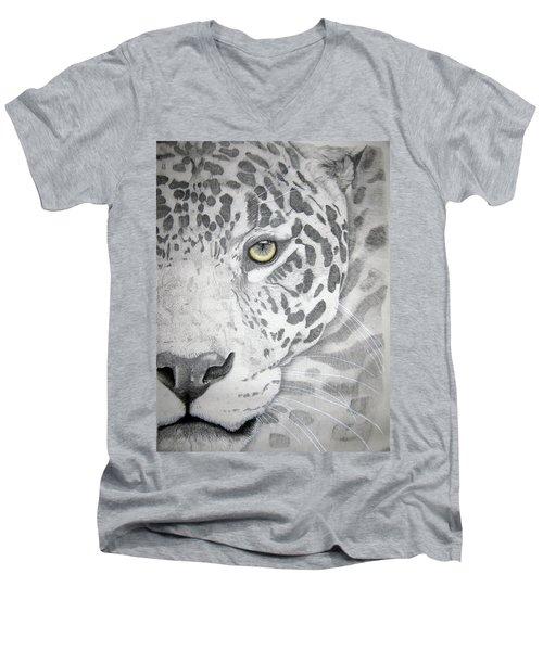 Men's V-Neck T-Shirt featuring the drawing Jaguar by Mayhem Mediums
