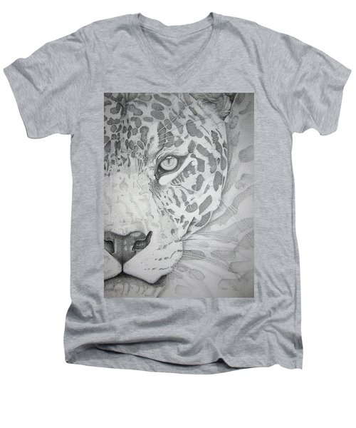 Jaguar Pointillism Men's V-Neck T-Shirt