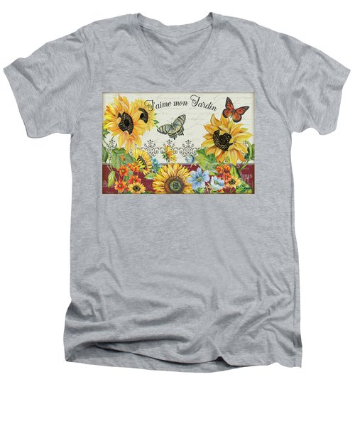 Men's V-Neck T-Shirt featuring the painting Jaime Mon Jardin-jp3990 by Jean Plout