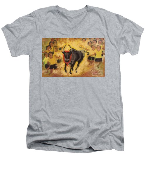 Jallikattu Men's V-Neck T-Shirt