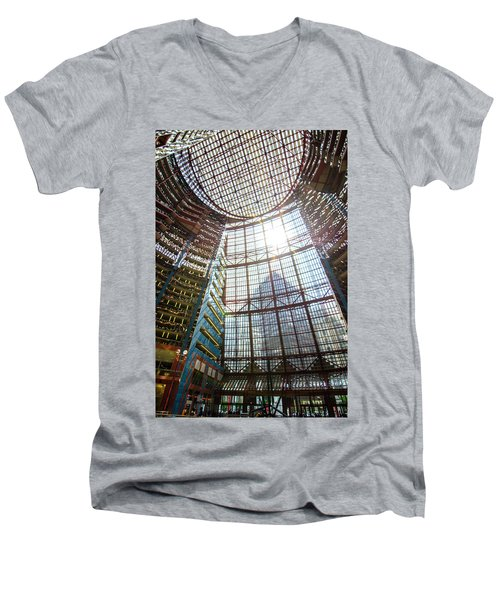 James R Thompson Center Interior II Chicago Men's V-Neck T-Shirt by Deborah Smolinske