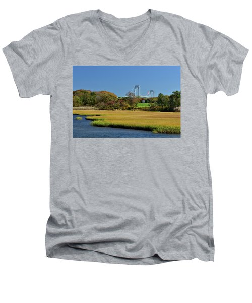 Jamestown Marsh With Pell Bridge Men's V-Neck T-Shirt