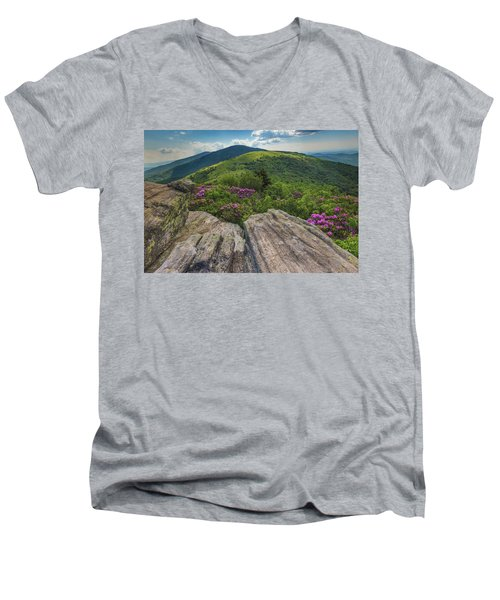 Jane Bald Rhododendrons Men's V-Neck T-Shirt