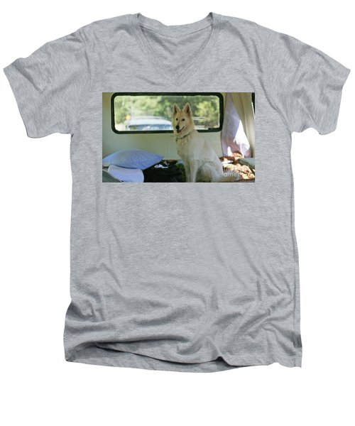 Jane Riding In The Bus Camping At Cape Lookout Men's V-Neck T-Shirt