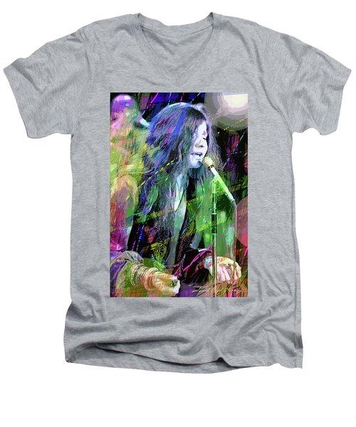 Janis Joplin Blue Men's V-Neck T-Shirt