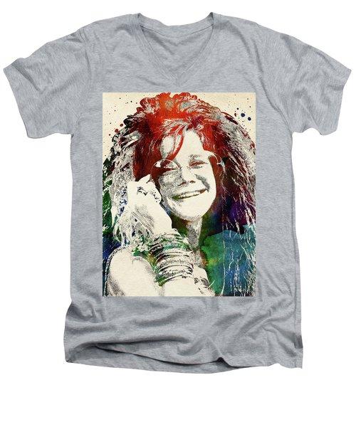 Janis Joplin Men's V-Neck T-Shirt by Mihaela Pater