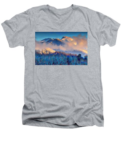 January Evening Truchas Peak Men's V-Neck T-Shirt by Anastasia Savage Ealy