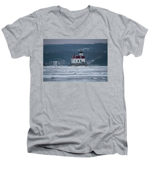January Morning At Esopus Light Men's V-Neck T-Shirt