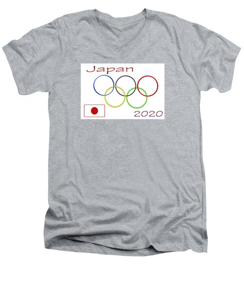 Japan Olympics 2020 Logo 3 Of 3 Men's V-Neck T-Shirt by Tina M Wenger