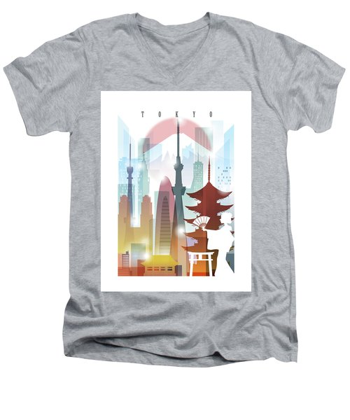 Japan Tokyo 2 Men's V-Neck T-Shirt by Unique Drawing