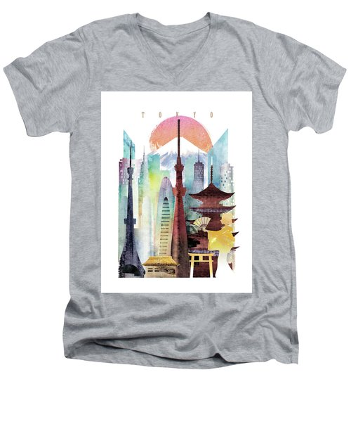 Japan Tokyo Men's V-Neck T-Shirt by Unique Drawing
