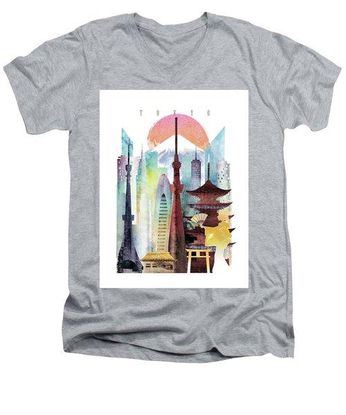 Japan Tokyo Men's V-Neck T-Shirt by Unique Drawing