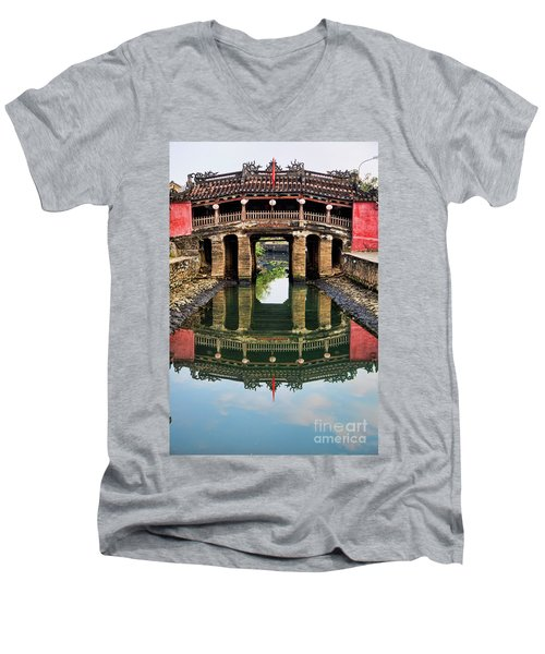 Japanese Bridge  Hoi An Men's V-Neck T-Shirt by Chuck Kuhn