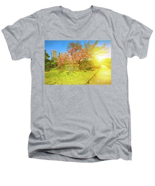 Japanese Garden Cherry Blossom Men's V-Neck T-Shirt