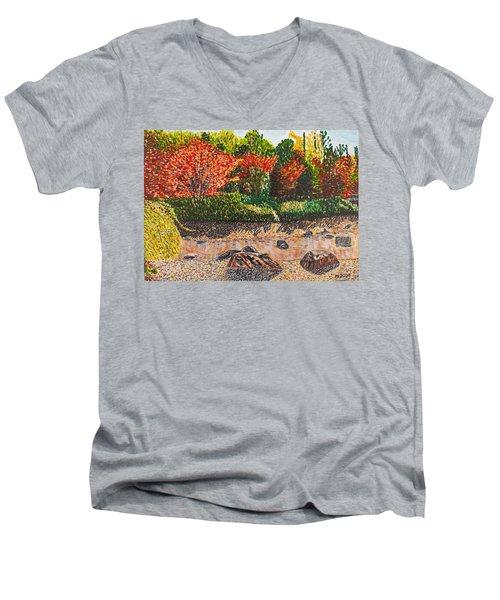 Japanese Maple Trees At The Creek Men's V-Neck T-Shirt by Valerie Ornstein