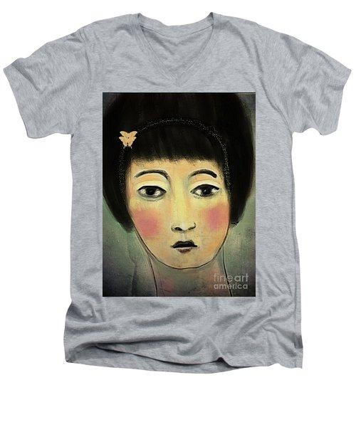 Japanese Woman With Butterflies Men's V-Neck T-Shirt