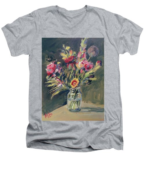 Jar Vase With Flowers Men's V-Neck T-Shirt