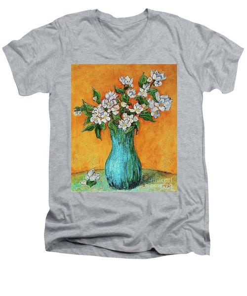 Jasmine Flowers In A Blue Pot Men's V-Neck T-Shirt