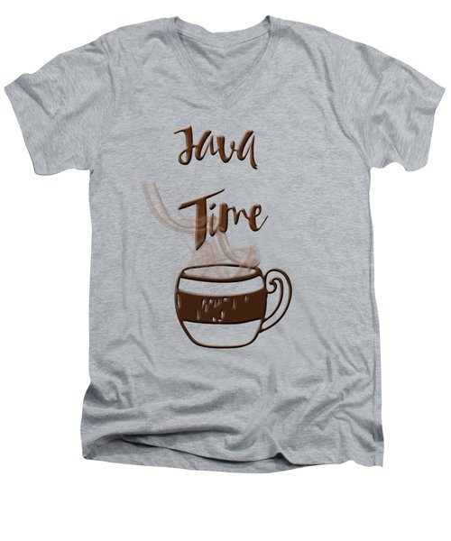 Java Time - Steaming Coffee Cup Men's V-Neck T-Shirt by Joann Vitali