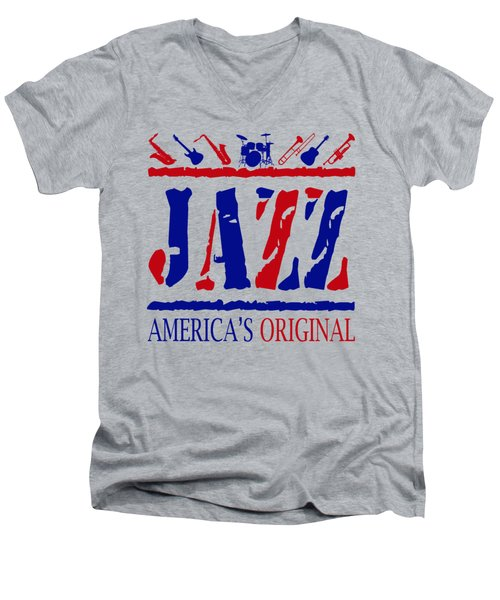 Jazz Americas Original Men's V-Neck T-Shirt by David G Paul