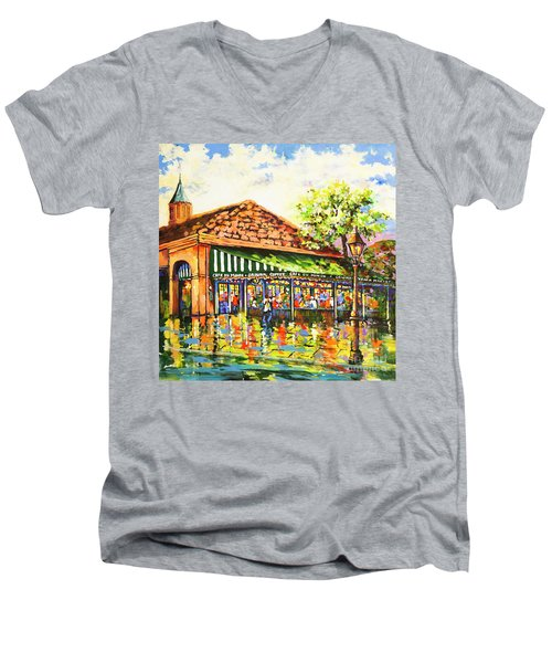 Jazz At Cafe Du Monde Men's V-Neck T-Shirt
