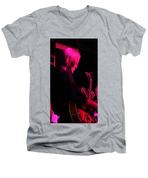 Men's V-Neck T-Shirt featuring the photograph Jazz Guitarist by Lori Seaman