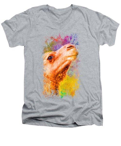Jazzy Camel Colorful Animal Art By Jai Johnson Men's V-Neck T-Shirt by Jai Johnson
