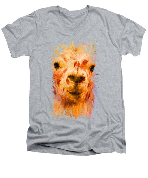 Jazzy Llama Colorful Animal Art By Jai Johnson Men's V-Neck T-Shirt by Jai Johnson