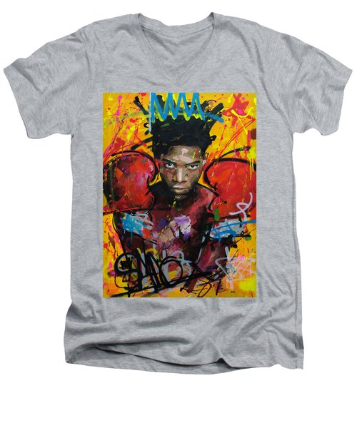 Men's V-Neck T-Shirt featuring the painting Jean-michel Basquiat by Richard Day