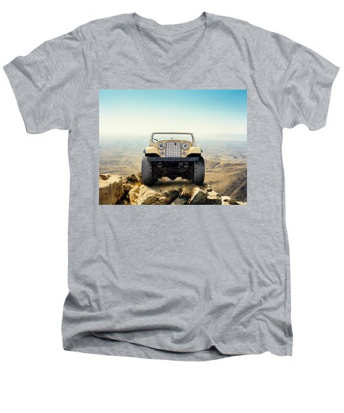 Jeep On Mountain Men's V-Neck T-Shirt