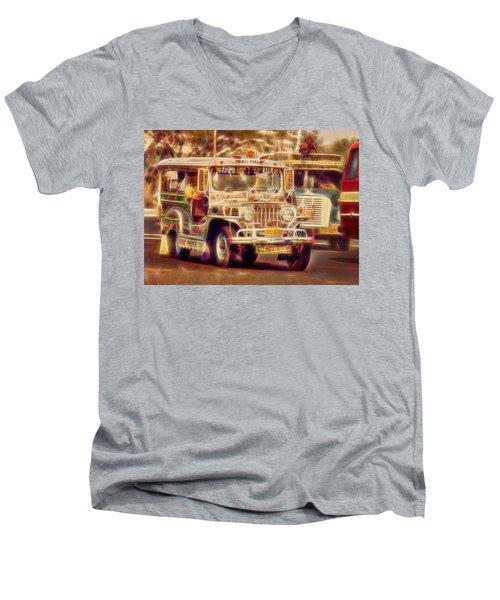 Jeepney Manila Men's V-Neck T-Shirt by David French