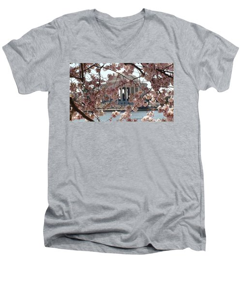 Men's V-Neck T-Shirt featuring the photograph Jefferson Through The Cherry Blossoms by Charles Kraus