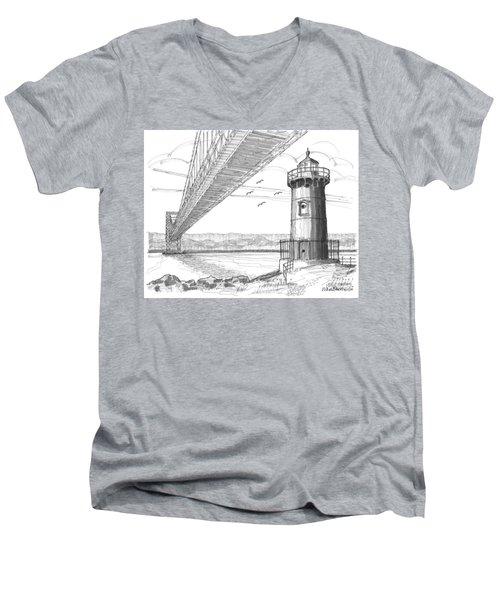 Jeffrey's Hook Lighthouse Men's V-Neck T-Shirt