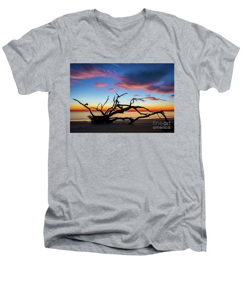 Jekyll Island Sunrise On Driftwood Beach Men's V-Neck T-Shirt