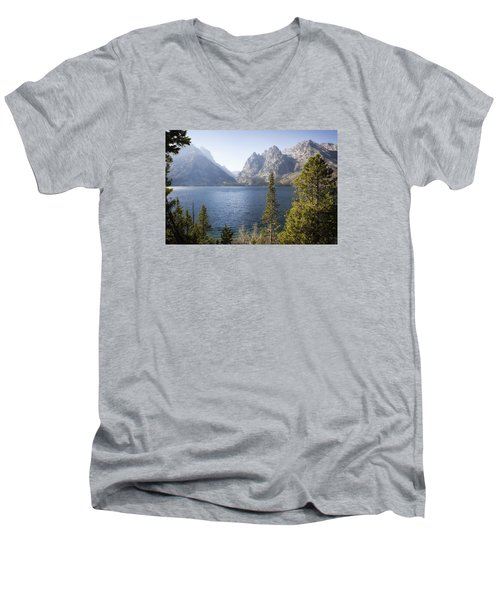Men's V-Neck T-Shirt featuring the photograph Jenny Lake by Shirley Mitchell