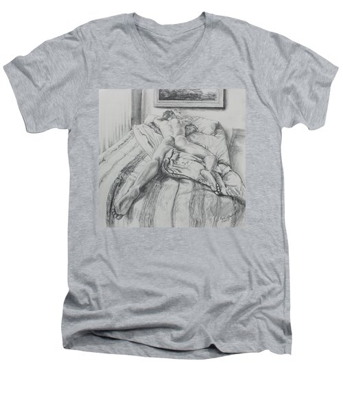 Jeremy On The Bed Men's V-Neck T-Shirt