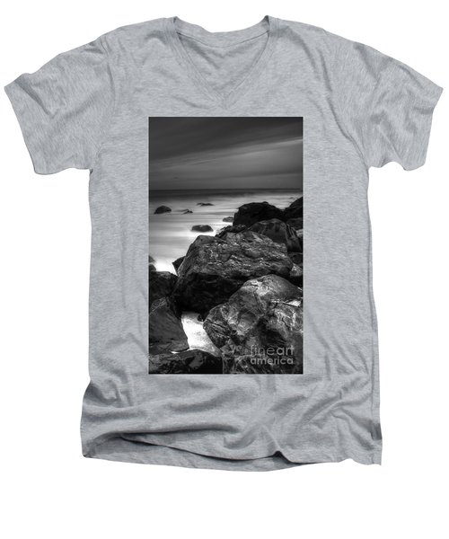 Jersey Shore At Night Men's V-Neck T-Shirt by Paul Ward