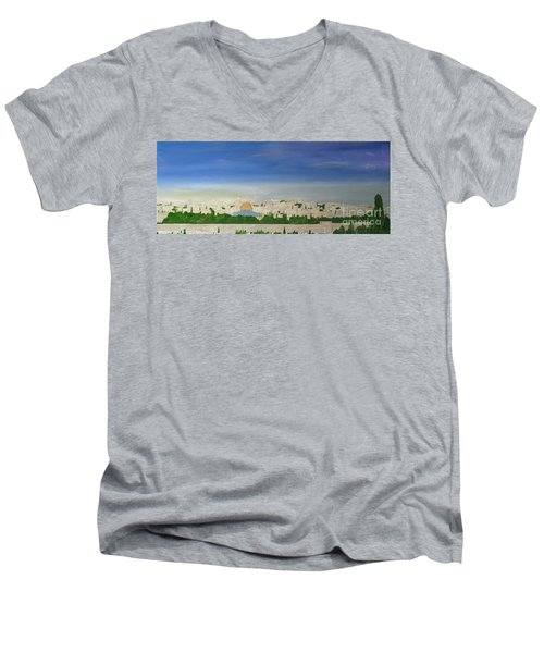 Jerusalem Skyline Men's V-Neck T-Shirt