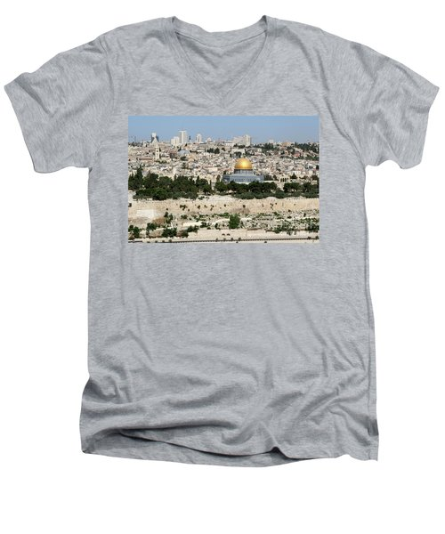 Jerusalem Skyline Men's V-Neck T-Shirt