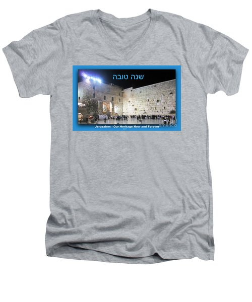 Jerusalem Western Wall Shana Tova Happy New Year Israel Men's V-Neck T-Shirt