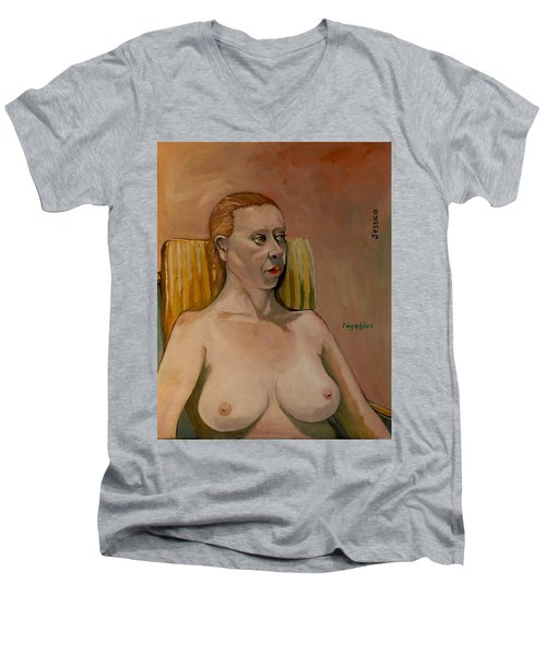 Men's V-Neck T-Shirt featuring the painting Jessica S by Ray Agius