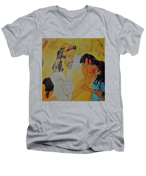 Jesus And The Children Men's V-Neck T-Shirt