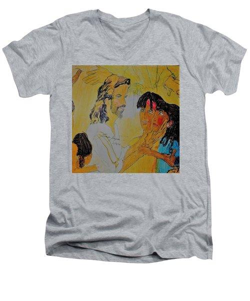 Jesus And The Children Men's V-Neck T-Shirt