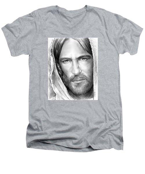 Jesus Face Men's V-Neck T-Shirt by Greg Joens