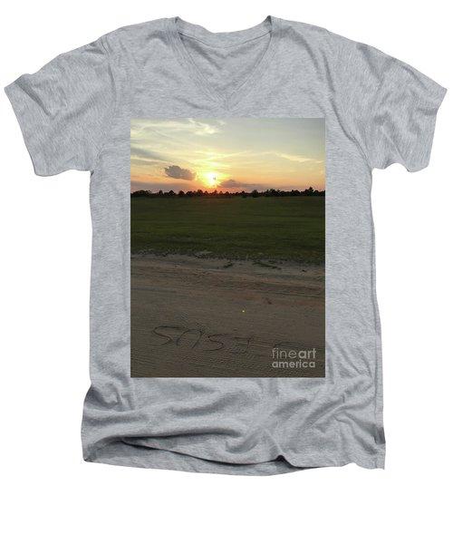 Jesus Healing Sunset Men's V-Neck T-Shirt