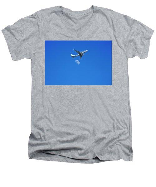Jet Plane Flying Over The Moon Men's V-Neck T-Shirt