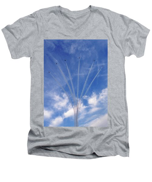Jet Planes Formation In Sky Men's V-Neck T-Shirt
