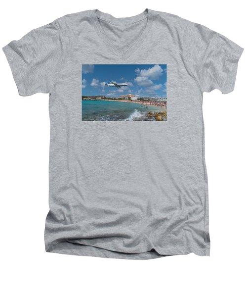 jetBlue at St. Maarten Men's V-Neck T-Shirt by David Gleeson