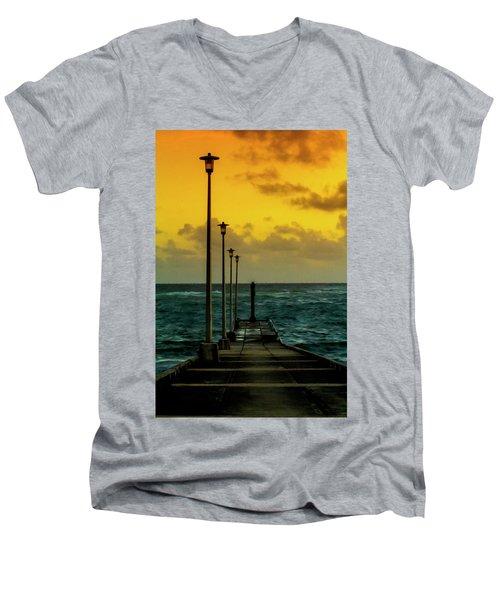 Jetty At Sunrise Men's V-Neck T-Shirt